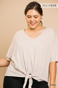 Striped Bell Sleeve V-Neck Top with Center Waist Tie and Scoop Hem