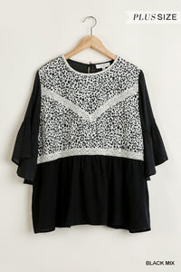 Animal Print Top with Lace Details and Bell Sleeves