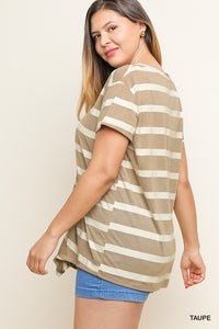 Striped Short Sleeve Knit Top with a Pintuck Gathered Front