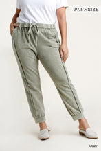 Load image into Gallery viewer, Mineral Washed French Terry Elastic Waist and Drawstring Jogger Pants-CURVY