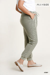Mineral Washed French Terry Elastic Waist and Drawstring Jogger Pants-CURVY