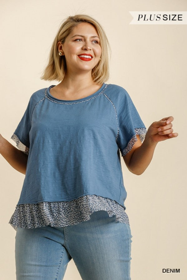 Animal Print Round Neck Short Sleeve Top