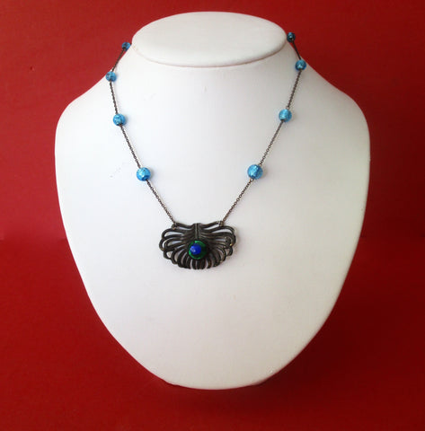 Antique Foiled Bead Peacock Necklace