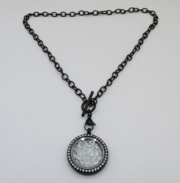 Vintage Black Watch Chain Necklace With Shaker Locket