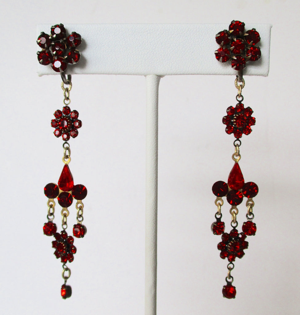 Pair of Vintage Red Crystal 3-Inch Drop/Dangle Screw Back Earrings