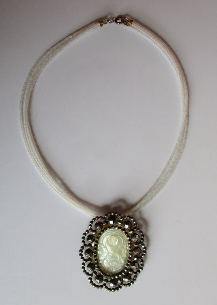 Antique Cut Steel & Mother-of-Pearl Choker/Necklace