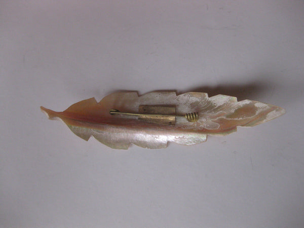 Victorian 4 1/2-Inch Large Mother-of-Pearl Leaf Pin