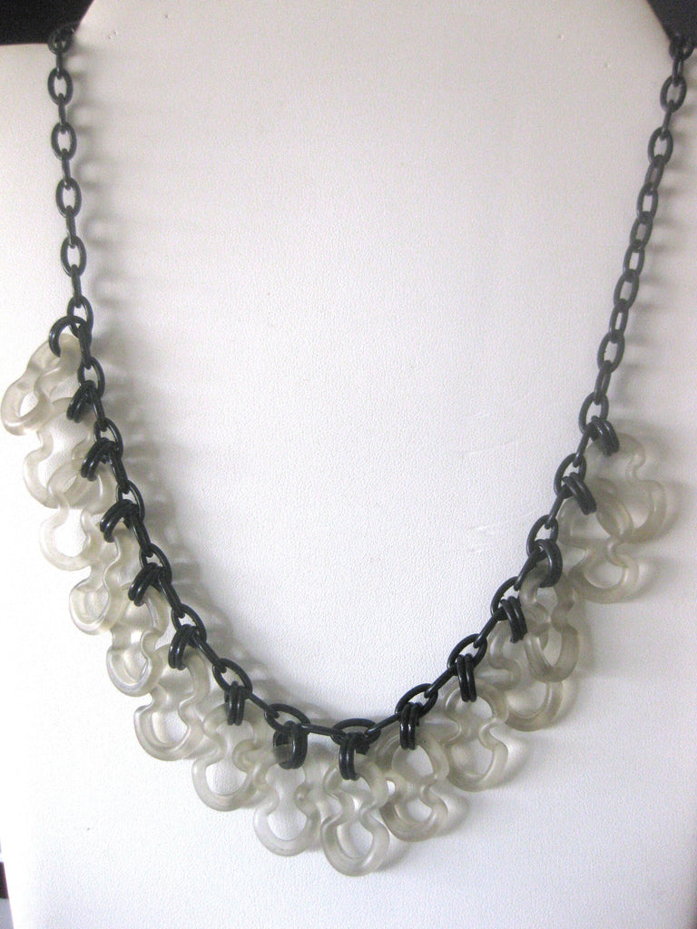 Vintage Celluloid & Frosted Glass Necklace from the 1930's