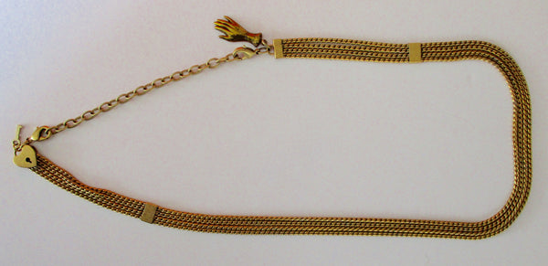 Vintage Brass Watch Chain Necklace With Pendants