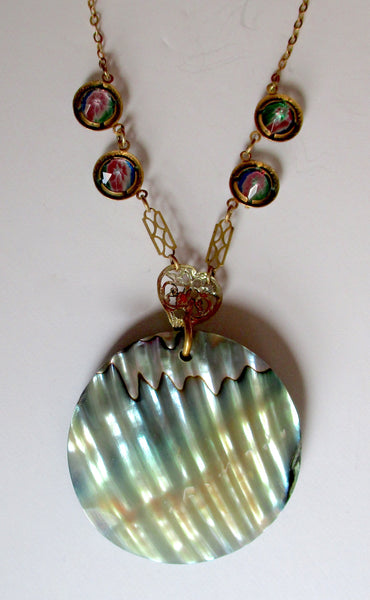 Vintage Art-Deco Abalone & Mother-of-Pearl Necklace/Boho/Hippie