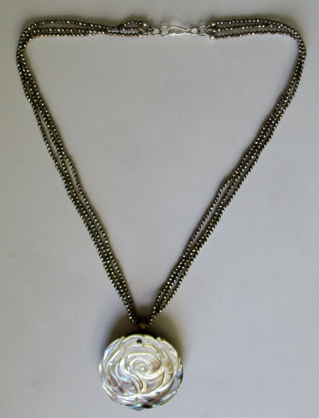 Antique Reversible Cut-Steel & Mother-of-Pearl Pendant/Necklace