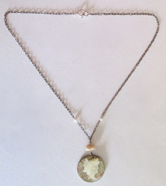 Antique Mother-of-Pearl Cameo Necklace