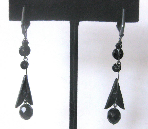 Pair of Victorian Black Vauxhall Glass Earrings