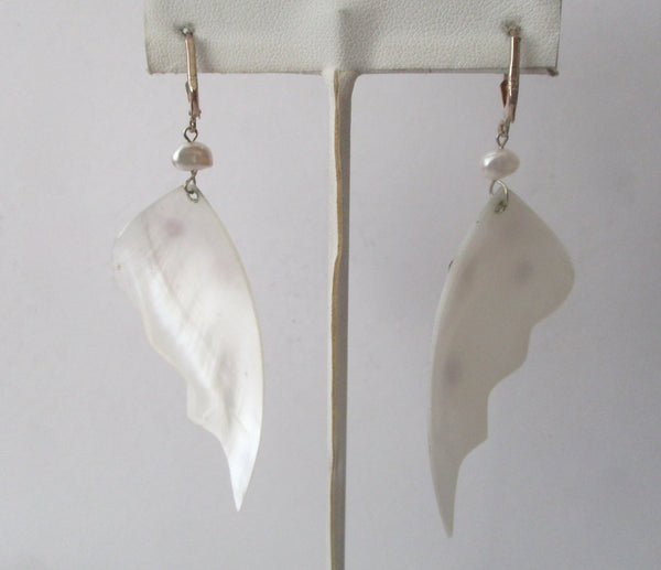 Pair of Vintage Sterling Silver Mother-of-Pearl Butterfly Wing  Earrings