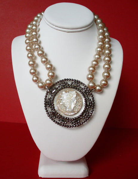 Antique Cut Steel & Mother-of-Pearl Cameo Pearl Necklace/Boho