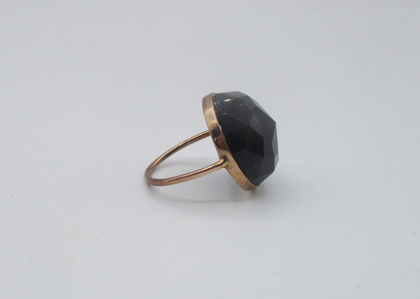 Vintage Rose-Cut Large Black Onyx Round Stone in a Vermeil Setting