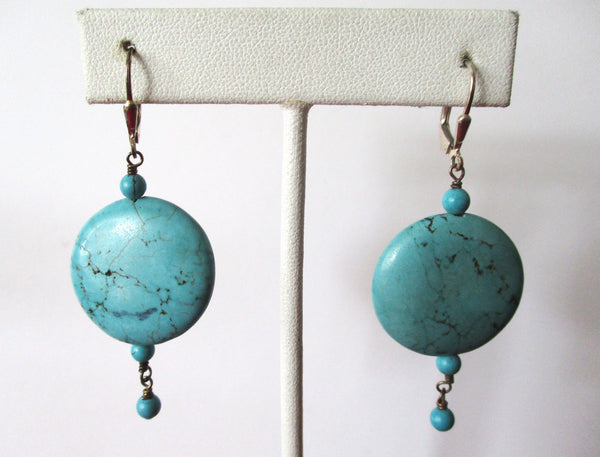 Pair of Vintage Sterling Silver & Natural Turquoise Earrings