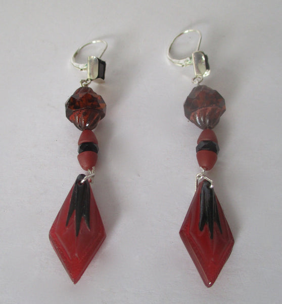 Pair of Vintage Sterling Silver & Brown Crystal Bead Earrings