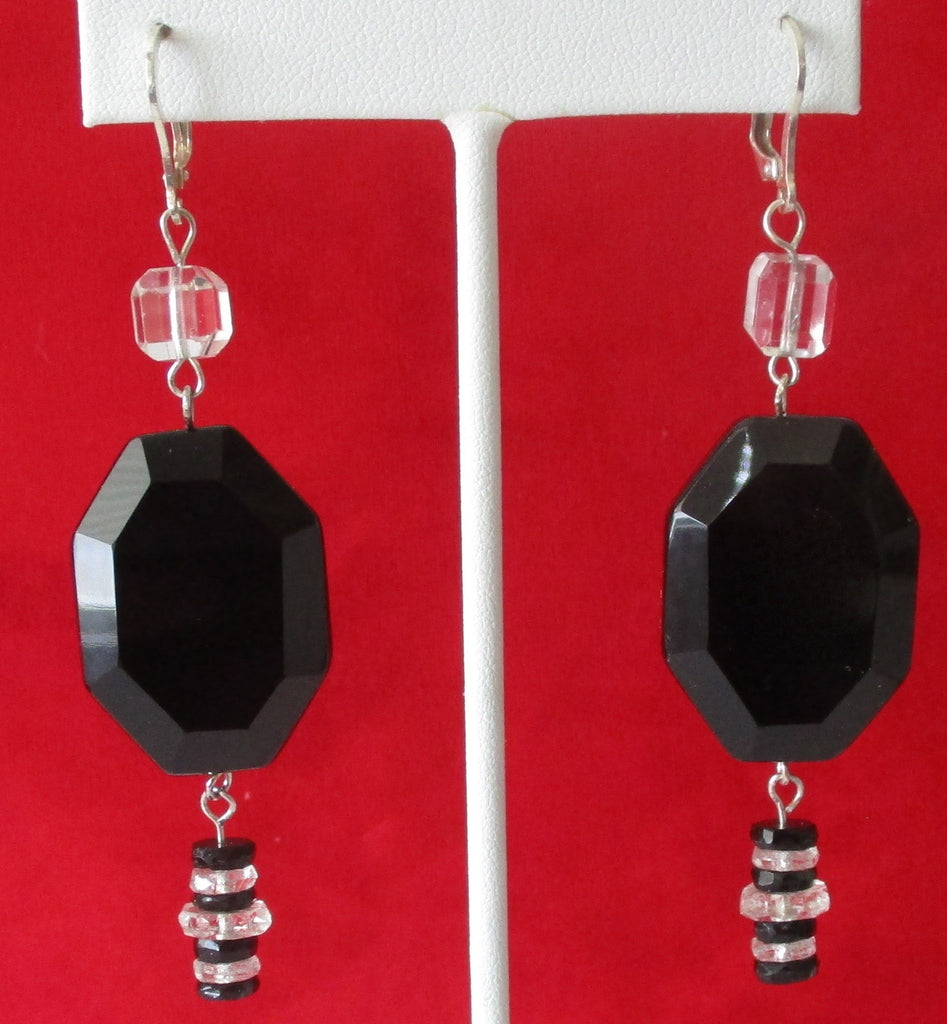 Pair of Art-Deco Sterling Silver &  Black Onyx Earrings