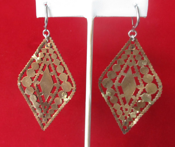 Pair of Antique 3-Inch  Cut Steel Earrings