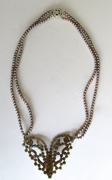 Antique Cut Steel Pearl Cameo Necklace