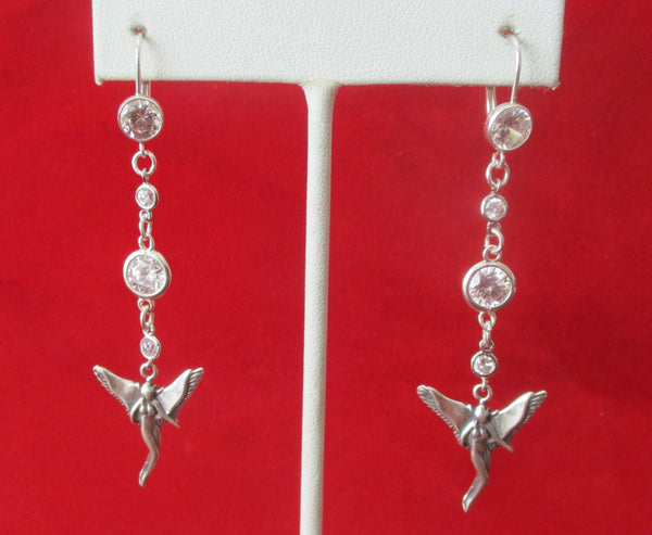 "Pair of Vintage Sterling Silver ""Fairy"" Earrings With Cubic Zirconias"