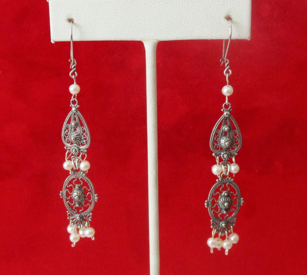 Pair of Vintage Filigree Sterling Silver Earrings With Cultured Seed Pearls