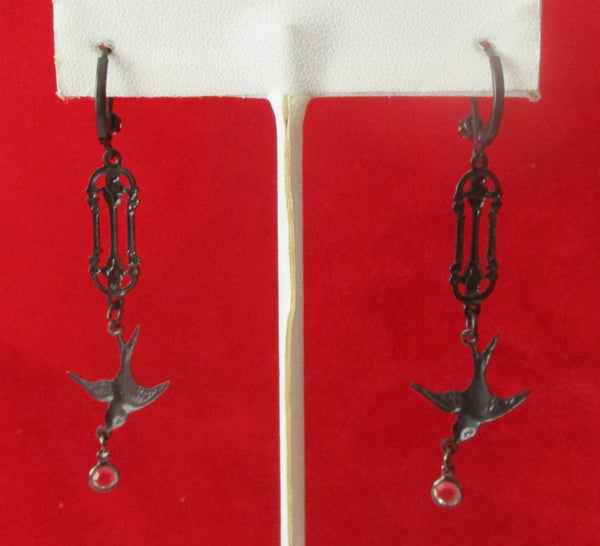Pair of Vintage Gothic Swallow  Steampunk Earrings
