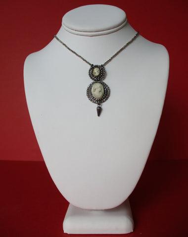 Antique Cut Steel & Double Cameo Pendant Necklace With Hematite Beads