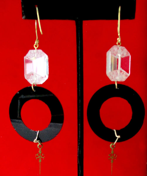 Pair of Art-Deco Crystal & French Jet 3 1/2-Inch Earrings
