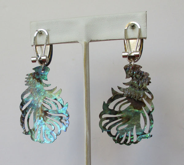 Pair of Vintage Butterfly Wing & Mother-of-Pearl Earrings