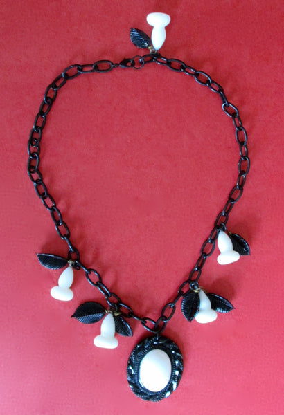 Vintage Black Celluloid Necklace With Black & White Glass Pendant
