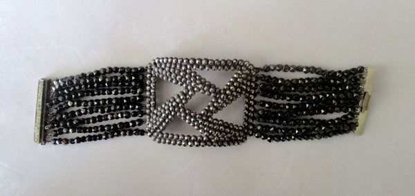 Art-Deco Cut Steel Bracelet