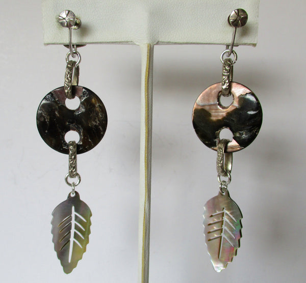 Pair of Antique Mother-of-Pearl Screw Back Earrings