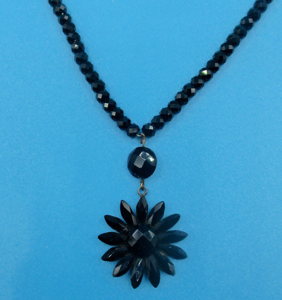 Antique Victorian Black  Vauxhall Glass Mourning Choker/Necklace