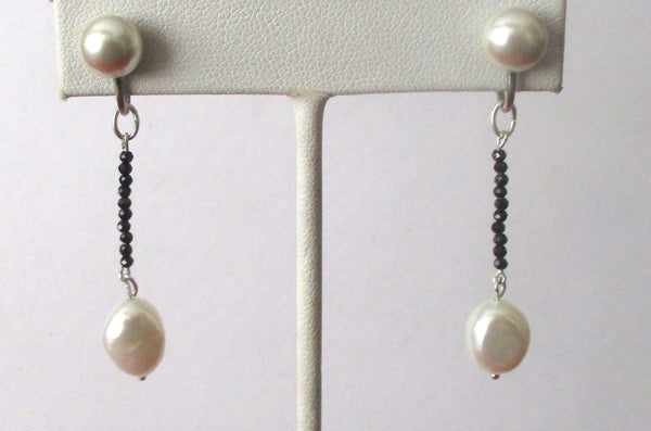 Pair of Vintage Screw Back Earrings With Micro-Spinel Beads & Cultured Pearls