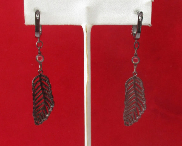 Pair of Rhinestone Feather Earrings