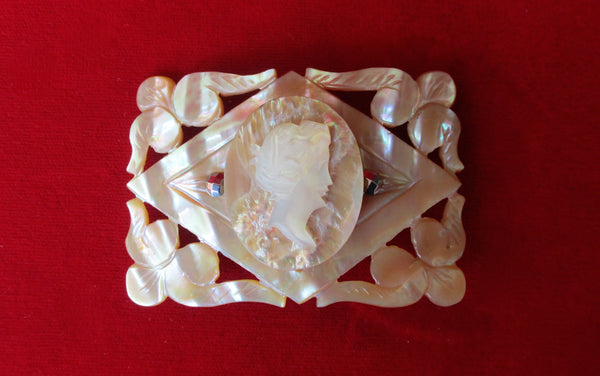 "Vintage Mother-of-Pearl Large Hand-Carved ""Brown Slip"" Cameo Brooch/Pin"