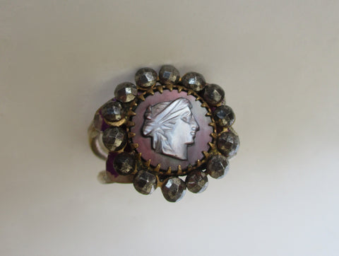 Antique Cut Steel & Mother-of-Pearl Cameo Ring on Sterling Silver