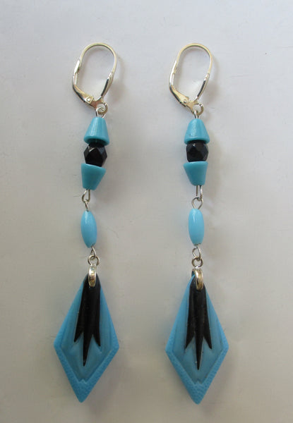 Pair of Art-Deco 3 3/4 Inch Glass Earrings
