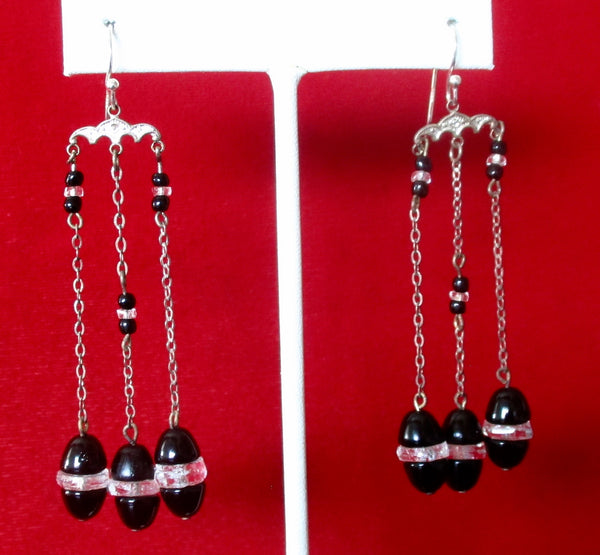 Pair of Art-Deco French Jet Earrings With Crystal