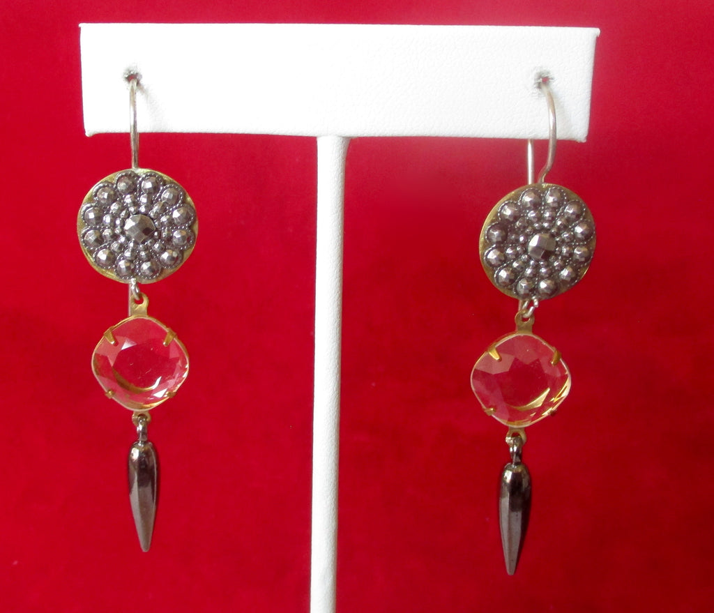 Pair of Antique Cut Steel & Crystal Earrings