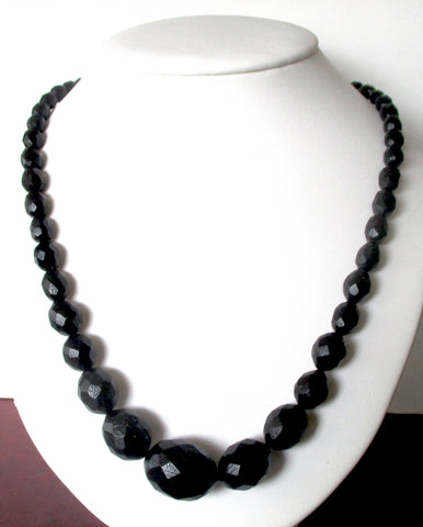 Victorian 23-Inch Whitby Jet Bead Necklace