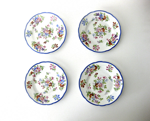 Set of (4) Antique  Hand-Painted Desert Plates