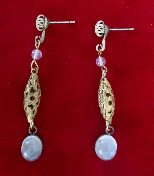 Pair of Antique Brass Earrings With Quartz Stones