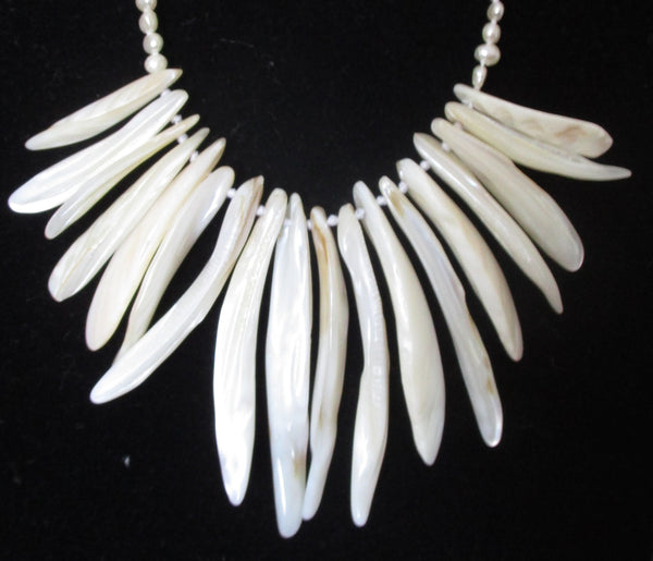 Mother-of-Pearl Bead & White Pearl Necklace