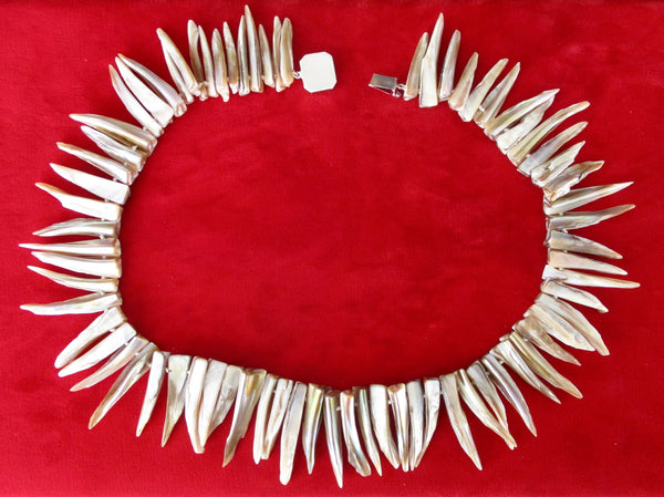 Mother-of-Pearl Spike Bead Necklace