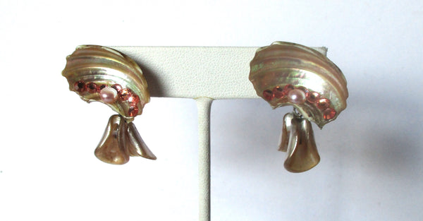 Pair of Vintage Natural Sea Shell Screw Back Earrings