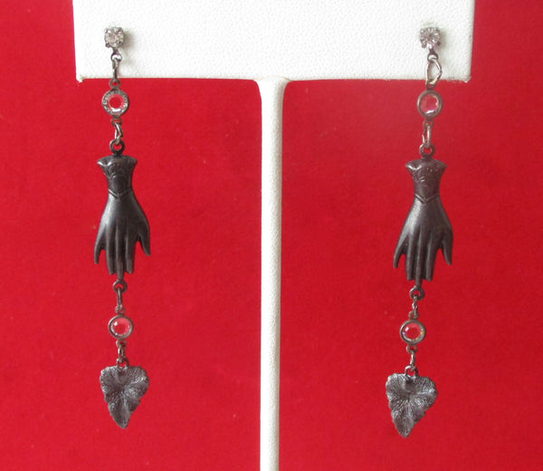 Pair of Black Steampunk, Boho, Hippie Earrings
