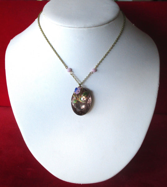 Vintage Victorian-Inspired Pink Crystal Pendant/Necklace